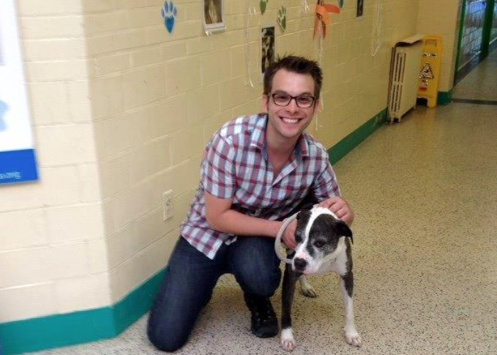 Maggie with her new owner David.