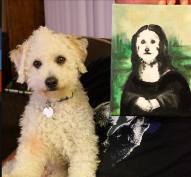 The Mona Lisa/Bowna Lisa: Six-year-old Maltese-Poodle Bowie loves the outdoors, playing in the dog park, and — of course — posing for renditions of famous works of art. He recently sat for his owner's sister, painter Rebecca Eichten, and she painted the Bowie version of the Mona Lisa or, more accurately, the Bowna Lisa.