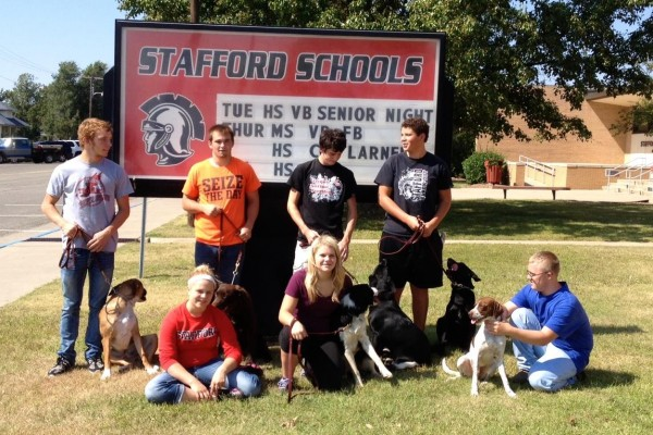 Class posing with their training dogs